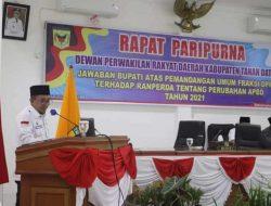 Bupati Sampaikan Jawaban Pandangan Umum Fraksi di DPRD Tanah Datar, Terhadap Ranperda Perubahan APBD Tahun 2021