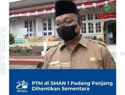 Pasca Puluhan Siswa Positif Covid, PTM di SMAN 1 Padang Panjang Dihentikan Sementara